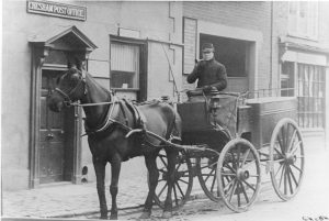 cart outside post office, now JPS stationers