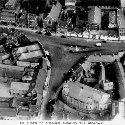 aerial photo of chesham showing the broadway