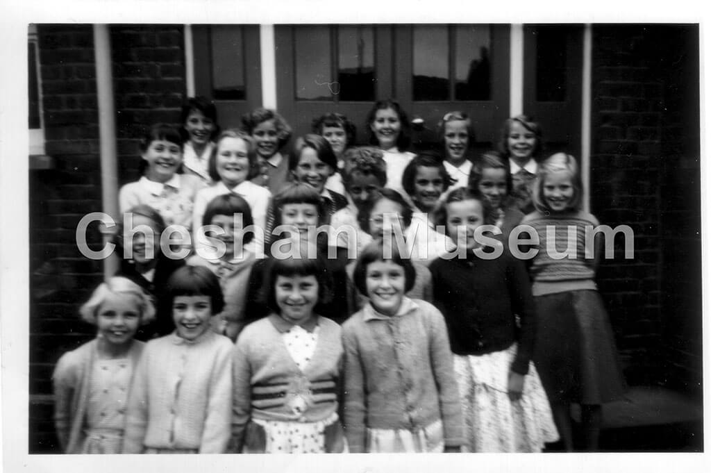 Girls taught by Miss Rance. 1954-55 at Townsend Road School for Giirls. Photo from the estate of the late Kathleen Rance. [image code: h7-05-07]