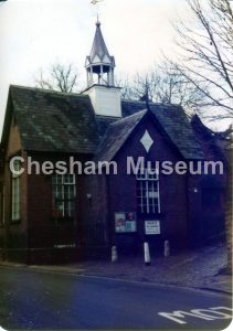 The School/Church Hall in Church Street, Chesham, around 1978. The print has degraded. Photo courtesy of Barry Ainsworth. [image code: h7-55-07]