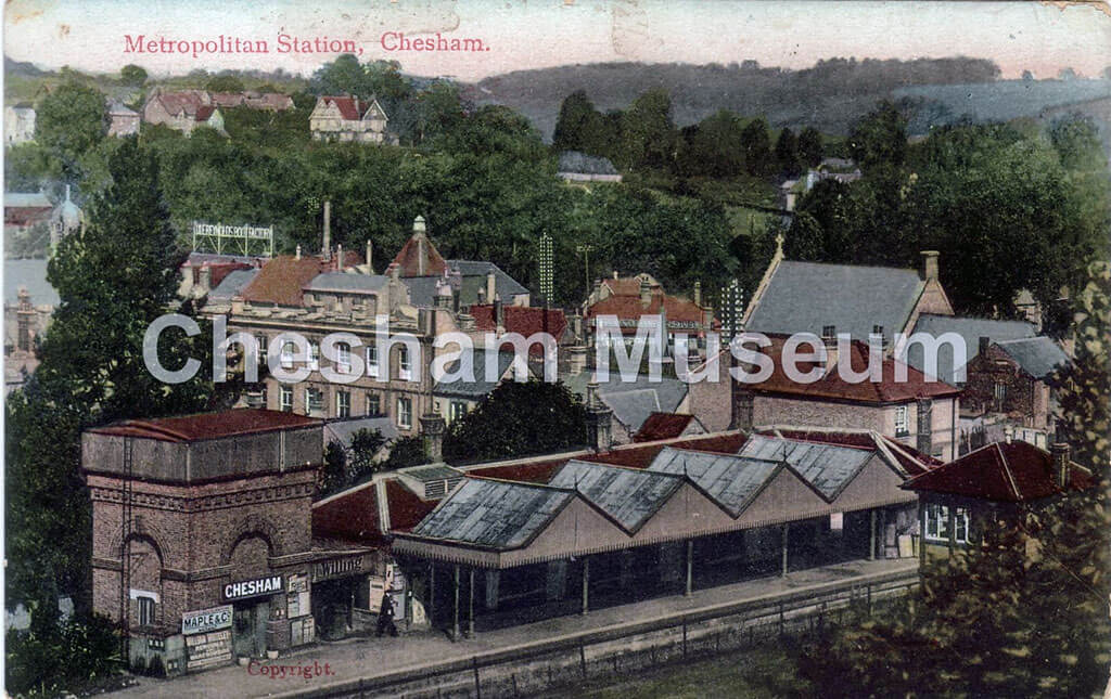 View of Chesham Railway Station from the Balks (Baulks). Postcard donated by Bill Howard. [image code: h9-41-18]