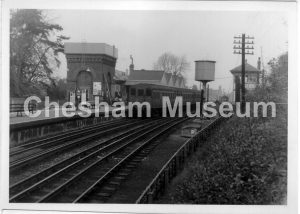 Chesham Railway Station, May 1961. Photo courtesy of David Harding, Three Rivers Museum, Rickmansworth. [image code: h9-44-01]
