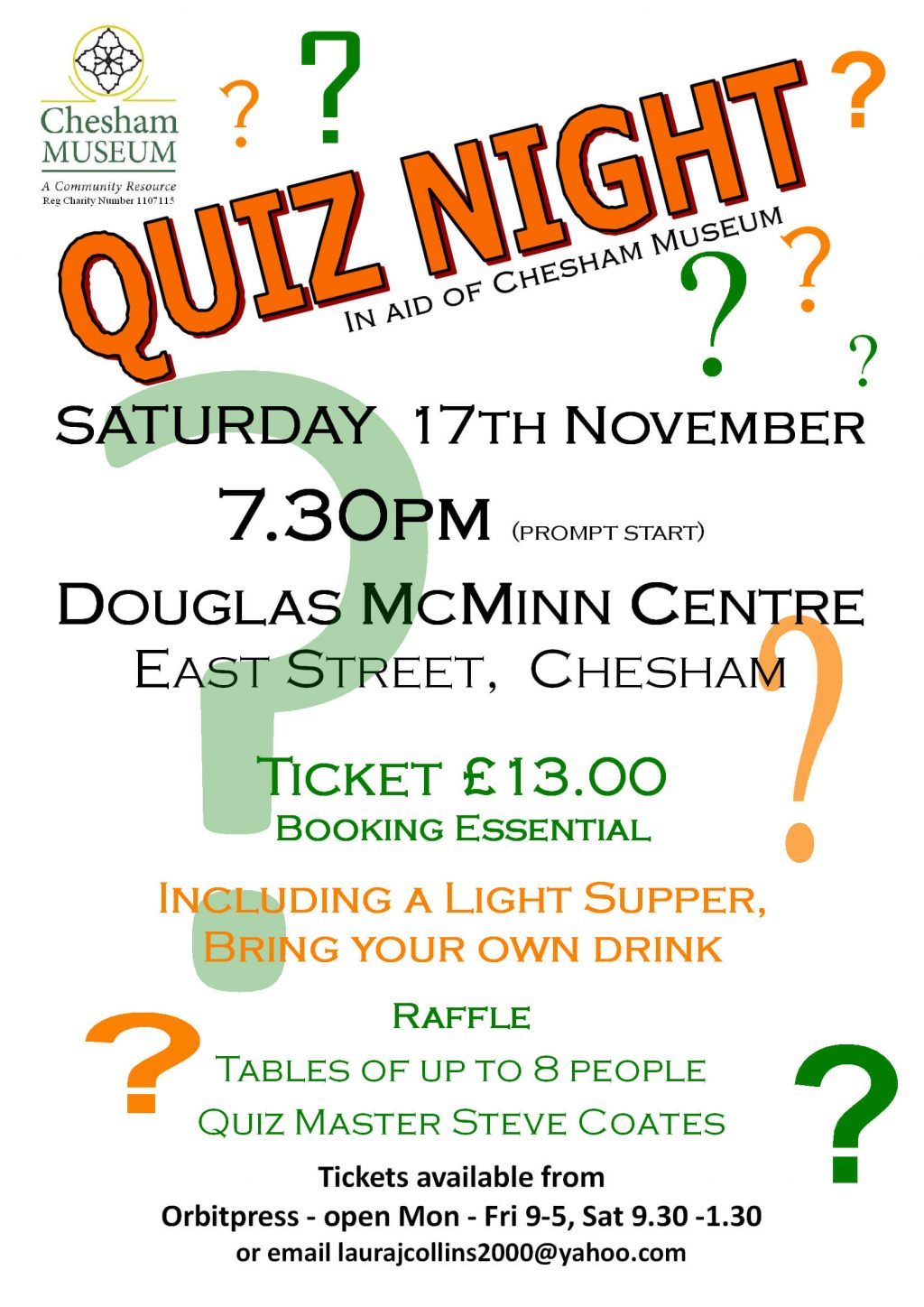 Chesham museum quiz night 17 November 7.30pm tickets cost £13