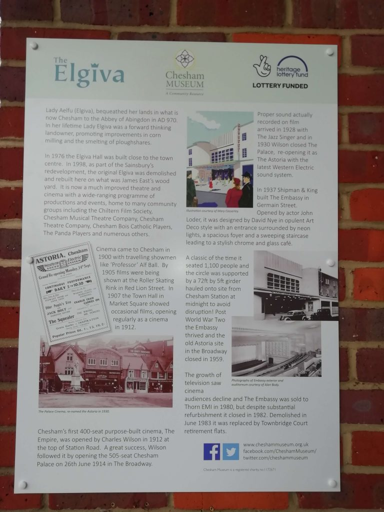 the chesham museum information panel at Elgiva theatre