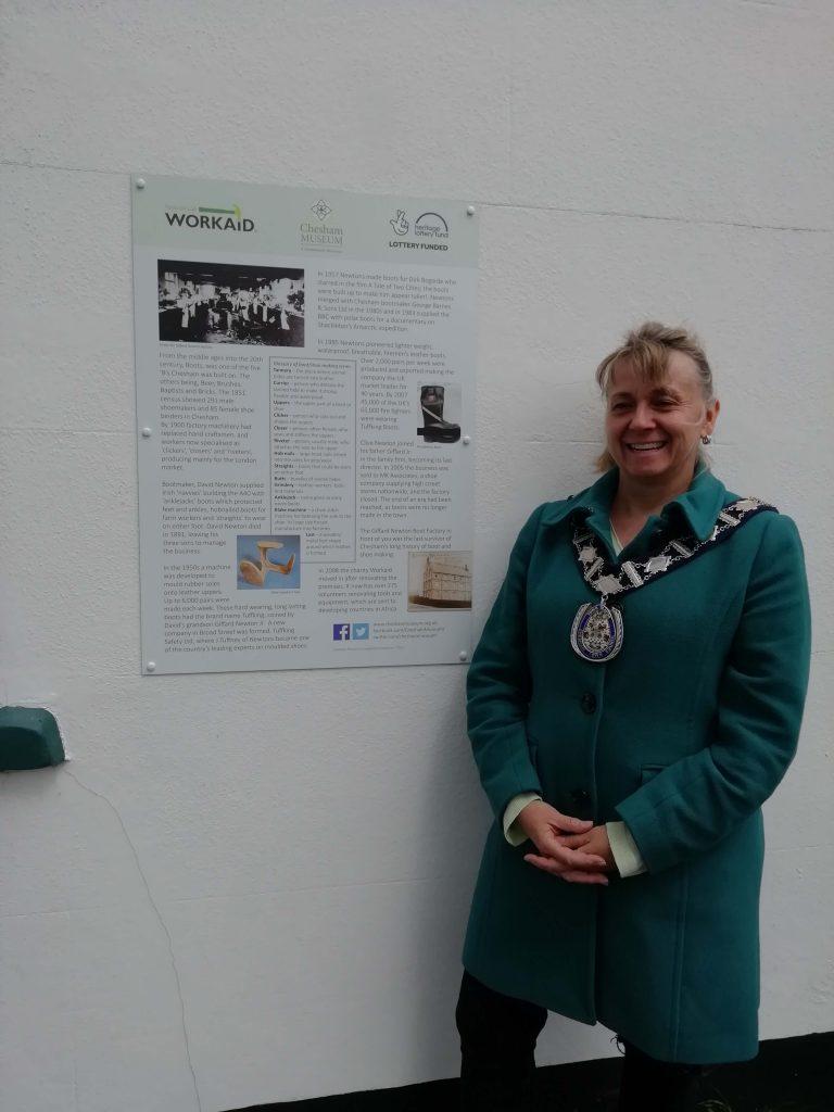 Chesham Mayor next to workaid-info-panel