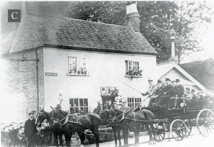 Horses and cart travelling down Eskdale Avenue past Jolly Sportsman