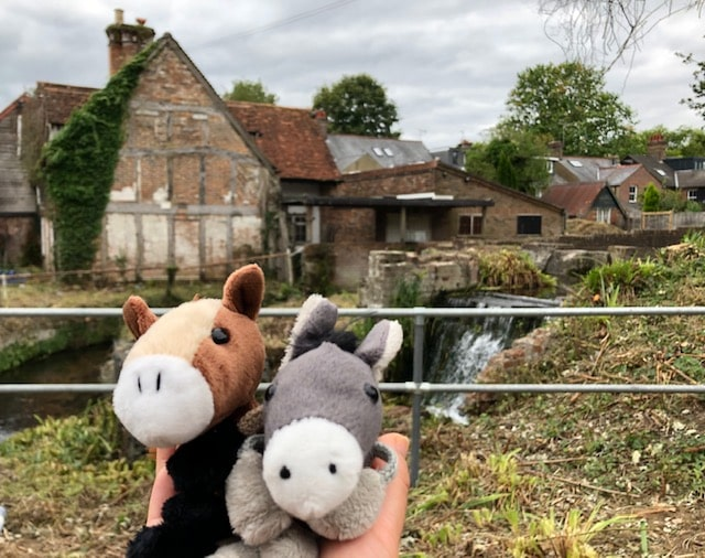 competition winner image - two soft toy horses in front of Lord's Mill
